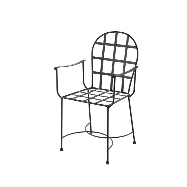 About Armchair in black wrought iron Handmade. Additional Options - Colors : black, shine white, antic white, blue, green,...