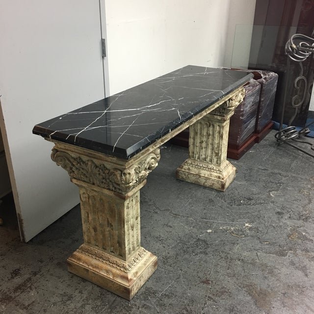Console Table with Black Marble Top & Column Base - Image 3 of 8
