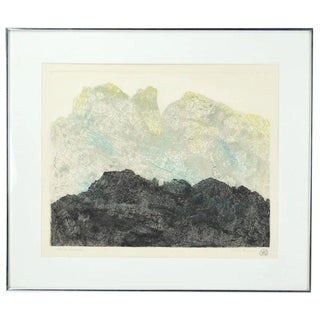 """Black Mountain"" Abstract Color Lithograph Artist's Proof Signed Millie Breen For Sale"
