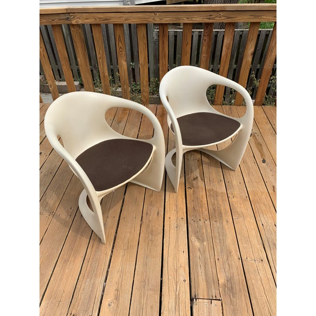 One set of original, untouched and truly authentic Alexander Begge Casala chairs; ivory white, plastic.