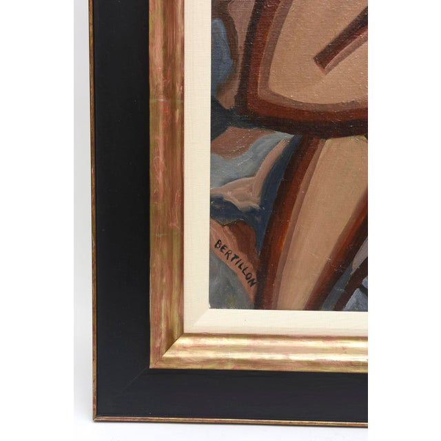 Blue Signed French Suzanne Bertillon Art Deco Oil On Canvas Custom Framed Painting For Sale - Image 8 of 11