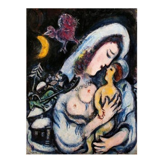 """Marc Chagall Motherhood 30.75"""" X 23.5"""" Poster 1986 Modernism Multicolor For Sale"""