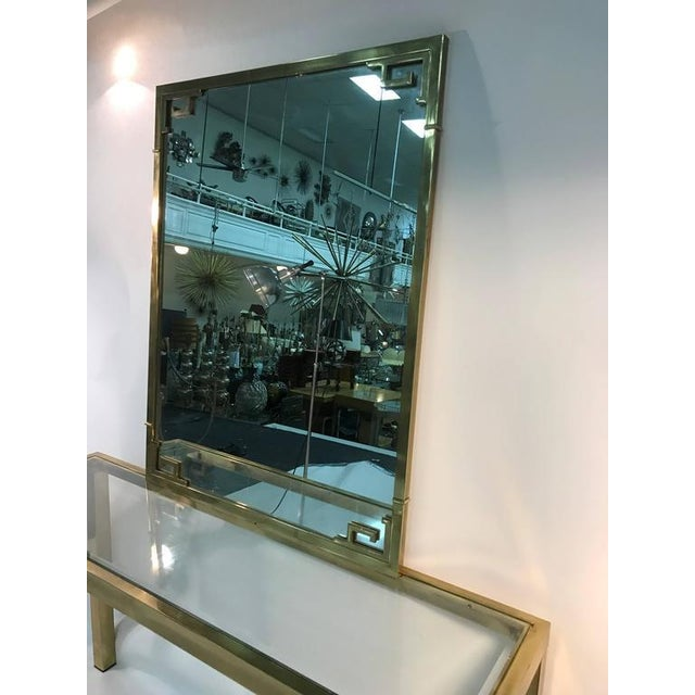 1970s STUNNING SOLID BRASS ITALIAN MIRROR AND CONSOLE TABLE WITH GREEK KEY DESIGN For Sale - Image 5 of 8