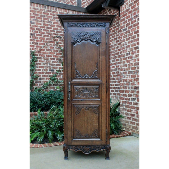 Antique French Country Oak 19th Century Liergues Bonnetiere Cabinet Armoire Wardrobe Bookcase For Sale - Image 13 of 13