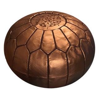 Bronze Pouf by Mpw Plaza (Stuffed) , Moroccan Faux Leather Pouf Ottoman For Sale