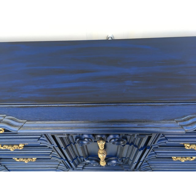 Paint Hand Painted Navy Blue Dresser For Sale - Image 7 of 8