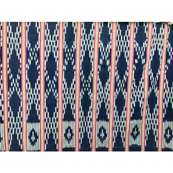 Vintage Pink & Indigo African Baule Cloth Textile For Sale - Image 5 of 6