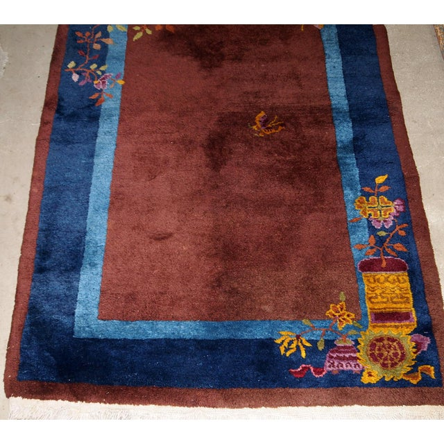 Textile 1920s Handmade Antique Art Deco Chinese Rug 3' X 4.11' For Sale - Image 7 of 13