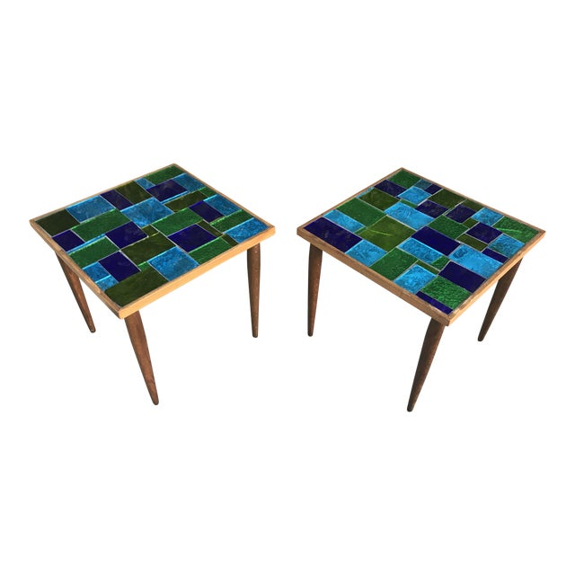 Mid Century Georges Briard Mosaic Glass Tables - a Pair For Sale