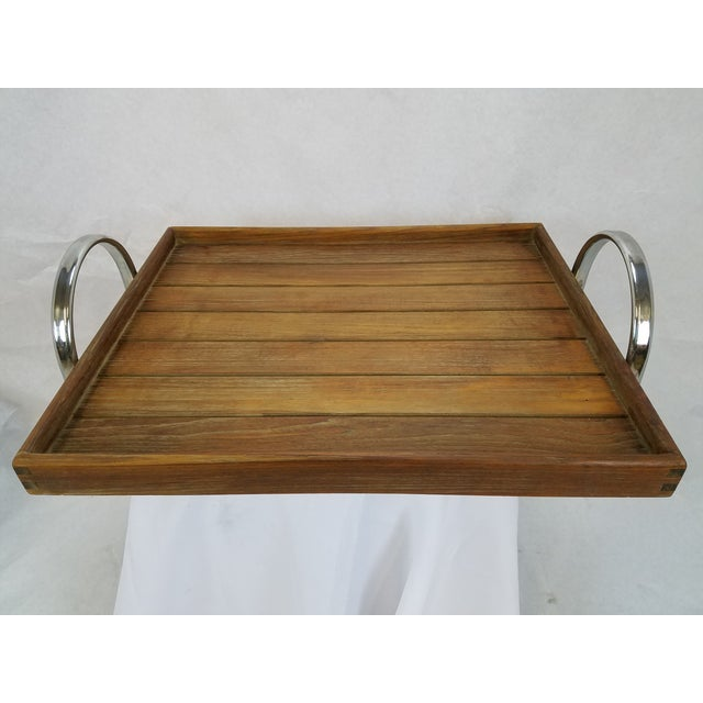 Danish Modern Teak Tray With Chrome Handles - Image 4 of 5