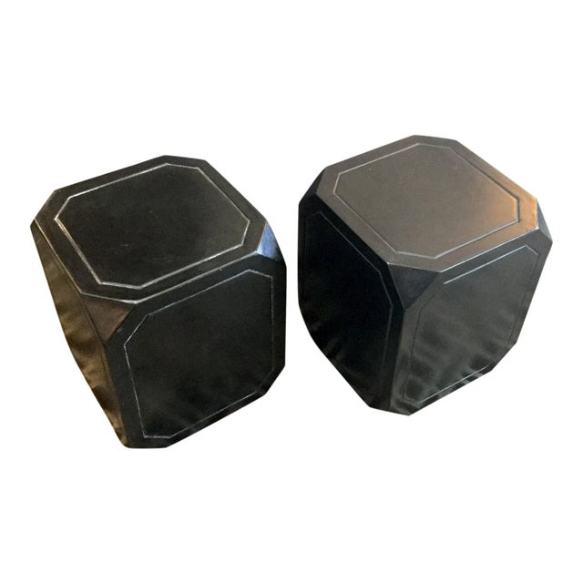 Black Concrete Tables/Stools - A Pair For Sale