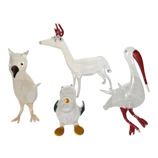 4 Handblown Animal Sculptures For Sale