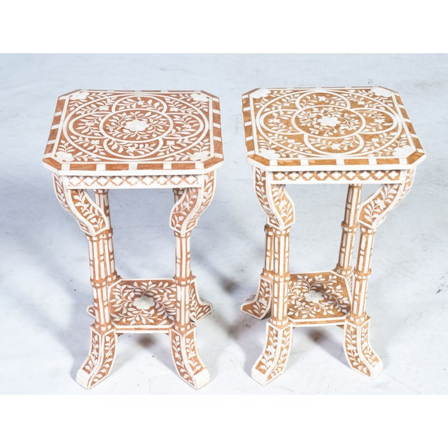 Islamic Pair of Bone Inlay Side Tables For Sale - Image 3 of 8
