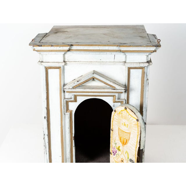 Mid 19th Century Antique French White Painted Wood Tabernacle For Sale - Image 5 of 7