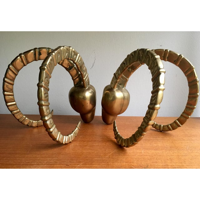 Brass Ram Horn Bookends- A Pair For Sale - Image 5 of 7