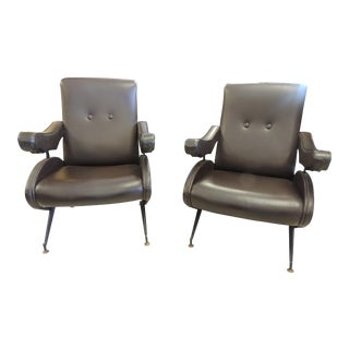 1960s Italian Brown Leather Recliners - a Pair