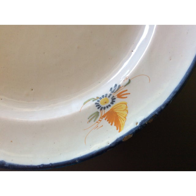 Antique Blue & Yellow Provence Platter For Sale - Image 4 of 8