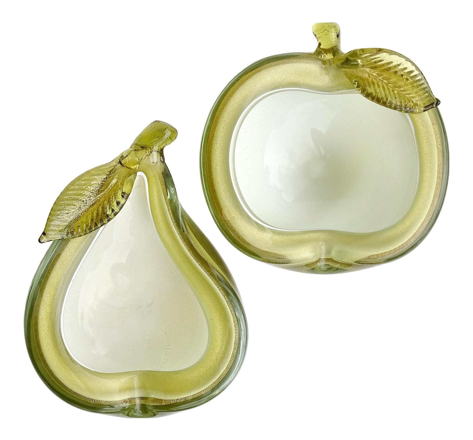 Italian  Glass Fruit. OLIVE GREEN  Murano PEAR