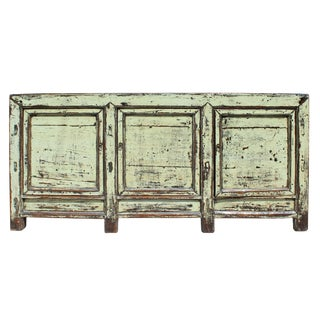 Chinese Distressed Cream Lemon Yellow High Credenza Console Buffet Table For Sale