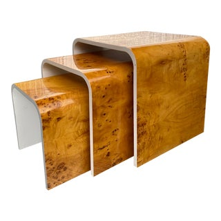 Burlwood Waterfall Nesting Tables - Set of 3 For Sale