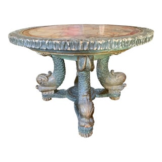 Antique Figured Marble Top Dolphin Table For Sale