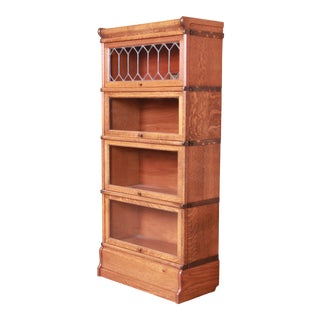 Globe Wernicke Four-Stack Barrister Bookcase With Leaded Glass, Circa 1900 For Sale