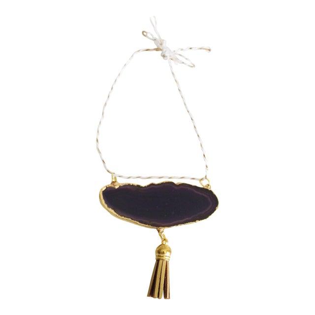 Modern Boho Purple/Eggplant Agate Holiday Ornament - Image 1 of 6
