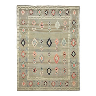 *Naqshi 9x12 Contemporary Fun Kilim Area Rug For Sale