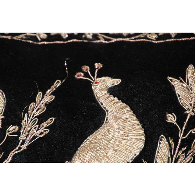 Black Velvet Throw Pillow Embroidered with Metallic Moorish Gold Threads For Sale In Los Angeles - Image 6 of 11