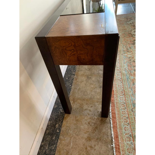 Contemporary 1970s Mixed Wood and Glass Sofa Console Table For Sale - Image 3 of 6