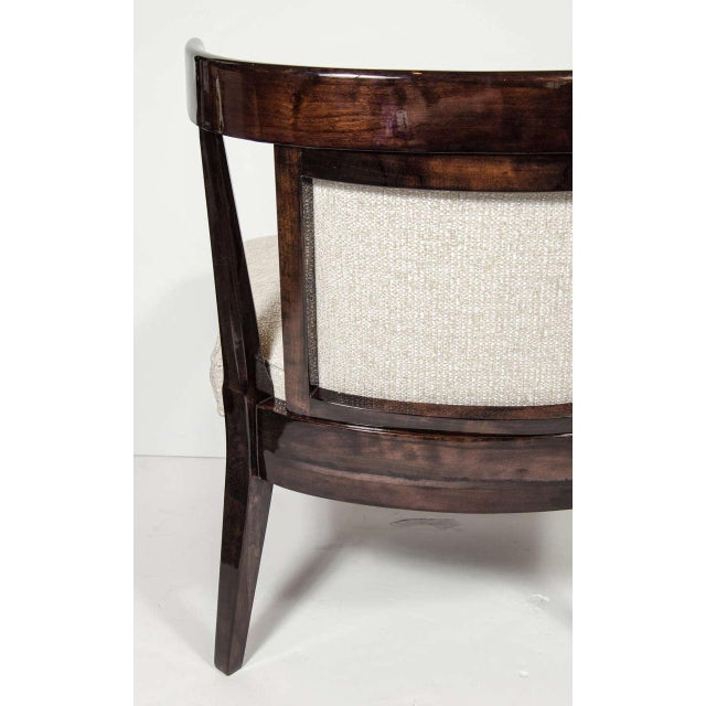 White Pair of Mid-Century Modernist Klismos Style Chairs in Ebonized Walnut For Sale - Image 8 of 9