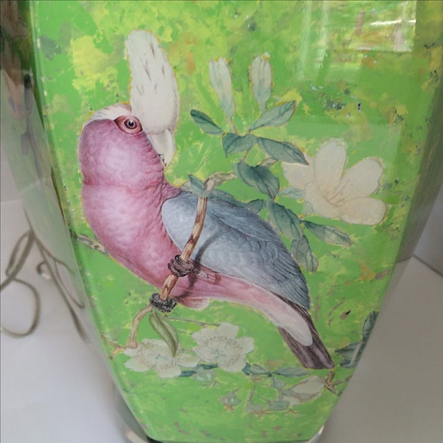 Green Reverse Painted Decoupage Lamp On Lucite Base For Sale - Image 8 of 9