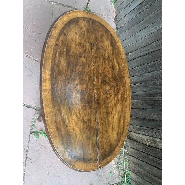 1930s Traditional Oval Burled Walnut Veneer Coffee Table on Pedestal Base For Sale - Image 5 of 13