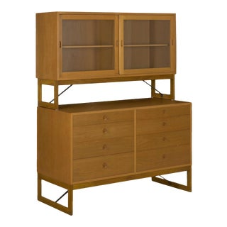 Vintage Børge Mogensen Danish Mid Century Modern Oak Bookcase Cabinet Over Dresser For Sale