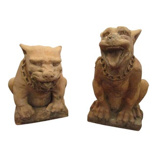 1960's Vintage Terra Cotta Guard Dogs- A Pair For Sale