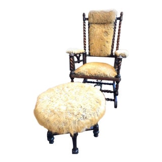 Barley Twist Antique Wooden Rocking Chair With Mohair Matching Ottoman For Sale
