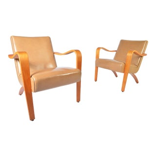 Mid Century Pair of 1940s Thonet Bentwood Lounge Chairs For Sale
