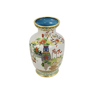 """Chinese 9"""" Tall Cloisonne Garden Vase For Sale"""