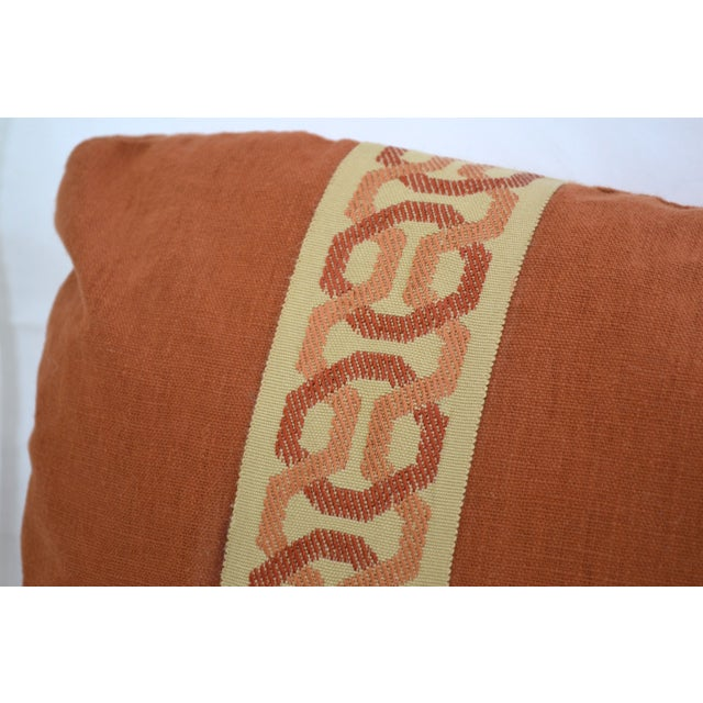 14 x 20 Rust Lumbar Pillow with Kravet Accent Tape - Image 4 of 4