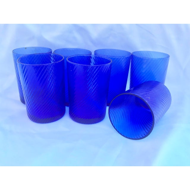 Contemporary 1980s Vintage Blue Swirl Glasses - Set of 7 For Sale - Image 3 of 9