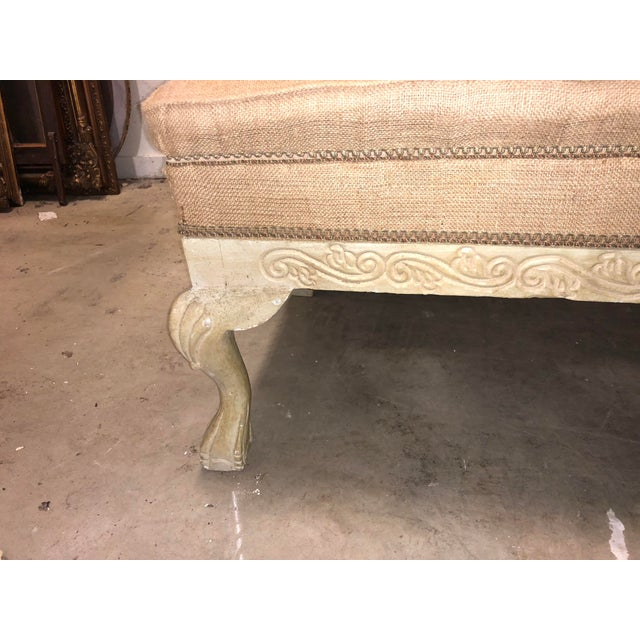 Vintage French long burlap bench.