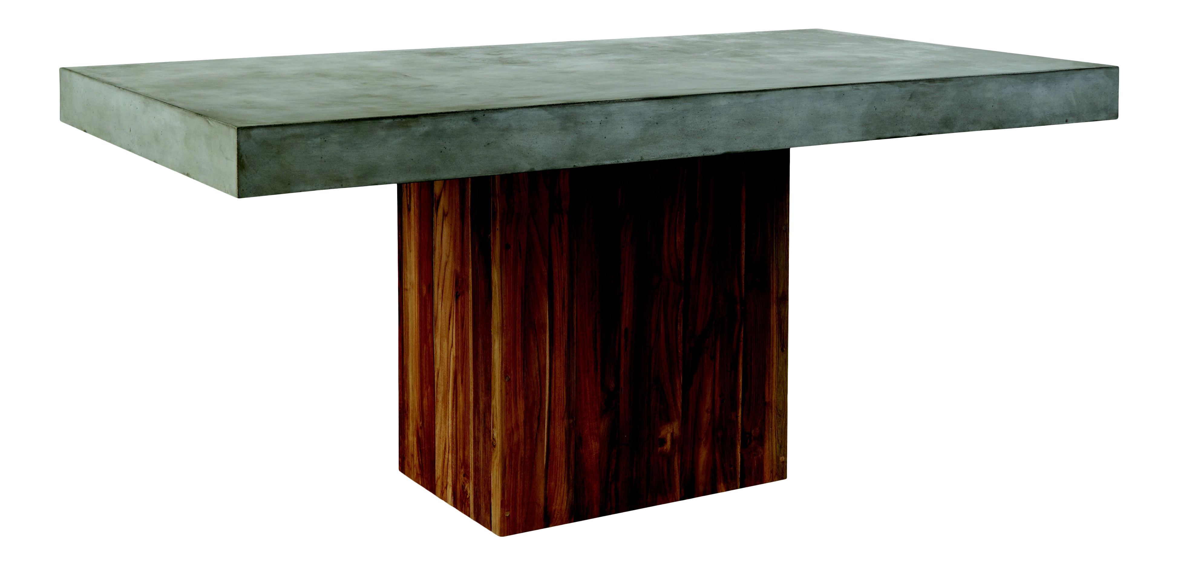 Sparta Rectangular Concrete Outdoor Dining Table With Teak Base Gray Chairish