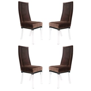 1970s Vintage Hill Manufacturing Lucite and Chrome Dining Chairs For Sale