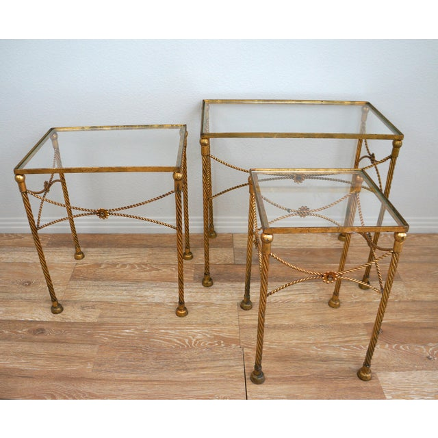 Gold Metallic Nesting Side Tables - Set of 3 - Image 3 of 6