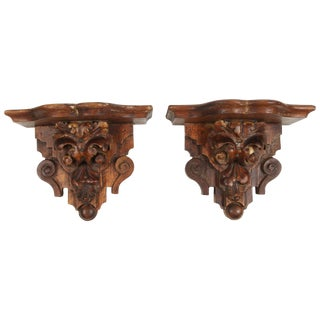 Pair of Vintage Wood Wall Shelves For Sale