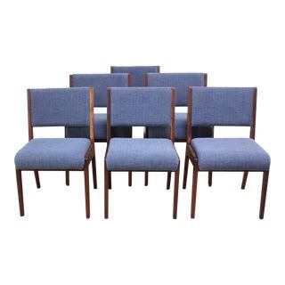 Set of Six Walnut Dining Chairs by Jens Risom