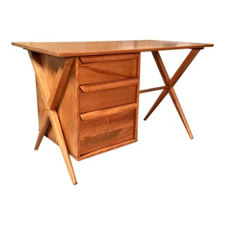 1950's Maple X-Leg Desk With Bookcase For Sale