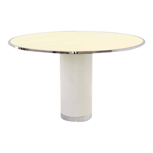 Mid-Century Modern Heavy Enameled Metal Base and Top Round Gueridon Dining Table For Sale