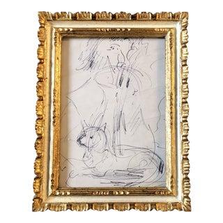 Vintage Original Ink Figure & Dog Sketch Study For Sale