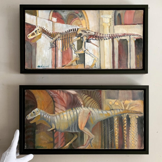 Contemporary Frank deLoach Dinosaur Oil Paintings - A Pair For Sale - Image 3 of 12